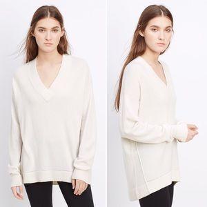 Vince Cashmere Pointelle Trim V-Neck Sweater